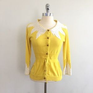 Anthropologie Moth Wisteria Yellow Cardigan - FLAW